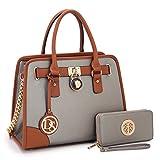 Dasein Women's Designer Padlock Belted Top Handle Satchel Handbag Purse Shoulder Bag With Matching Wallet (02-6892 Simple Color Pewter + Matching wallet)