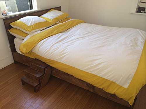 Wooden Platform Bed Frame and Headboard / Modern and Contemporary / Rustic and Reclaimed Style / Old World / Solid Wood / Artisan Made (King)