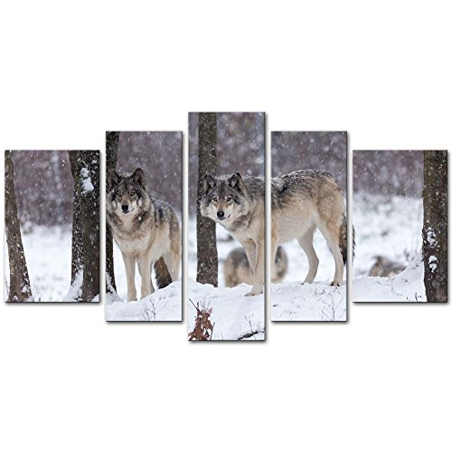 5 Pieces Modern Canvas Painting Wall Art The Picture For Home Decoration Lone Timber Wolf In Snow Storm Forest In Winter Animal Wolf Print On Canvas Giclee Artwork For Wall (Wolf Art Wall Decor)