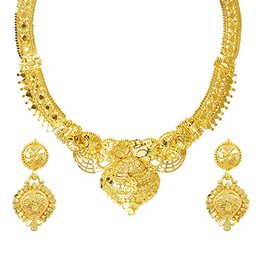 bodha 22K Gold Plated Traditional Indian Bollywood Necklace Jewellery Set for Women (SJ_2646) ()