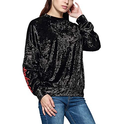 Cuello Bordada De Larga Redondo Letras Manga Camiseta Mujeres Con Terciopelo Black Camisetas d7YxFzqq