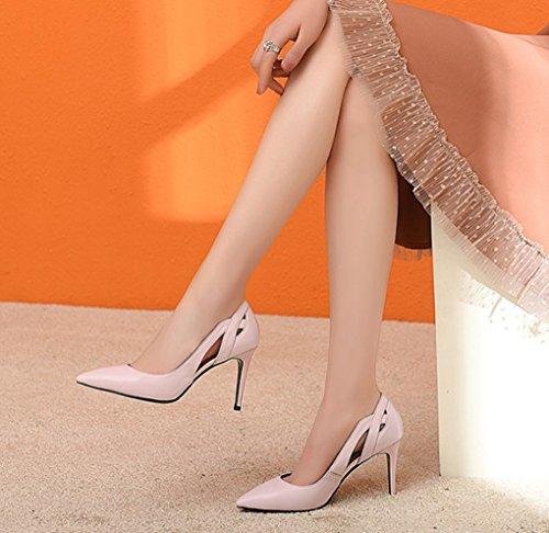Talons en pour Mode et Bouche Printemps Rose Taille Couleur la Creux été LBDX Femmes Amérique Cuir Talon de véritable 39 Chaussures Shallow Mince Hauts et Rose Europe Pointues 51On57Yx