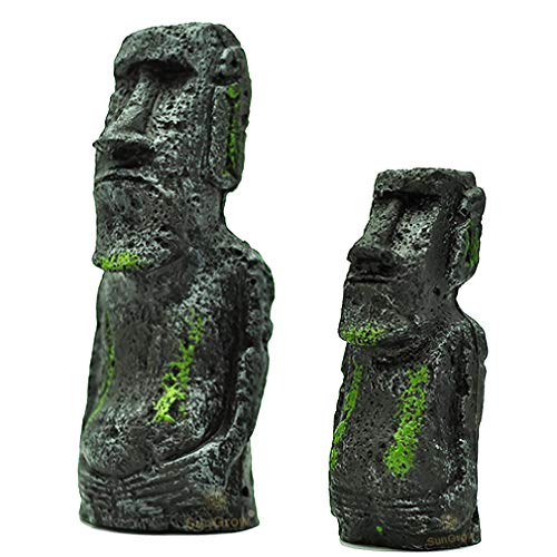 Easter Island Aquarium Ornaments (2 pc) --- Resin Replicas of World Famous Moai Statues - Fun Addition to DIY Home & Party Decor - Great for Freshwater & Saltwater Fish Tanks, Terrariums & Vivariums