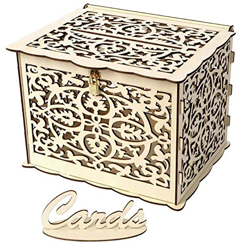 SODIAL Wedding Card Box DIY Wooden Hollow Gift Cards Box Container Wedding Party Decoration Supplies for Birthday Party, Large]()