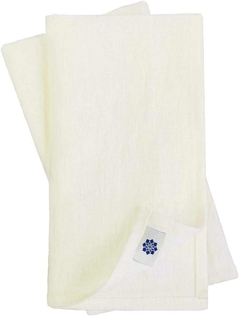 Blanc De Lait 100/% Lin Linen /& Cotton Lot de 4 Serviettes de Table Rustico 42cm x 42cm