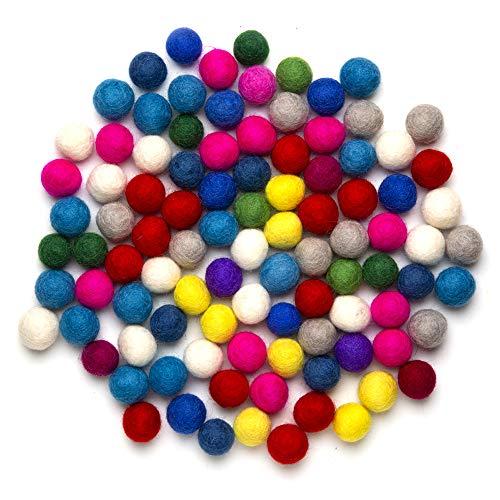 Feltfriend 100 Pieces Pure Wool Felt Balls, Wool Beads, Pom Poms, Garland, Diameter 20 mm / 0.78 Inch (Assorted Colors) ()