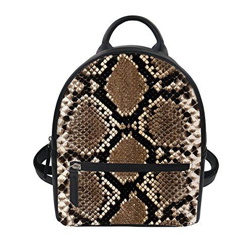 Snakeskin Pattern Women Mini Oxford Backpack Purse Rucksack Girls Shoulder Bag for -