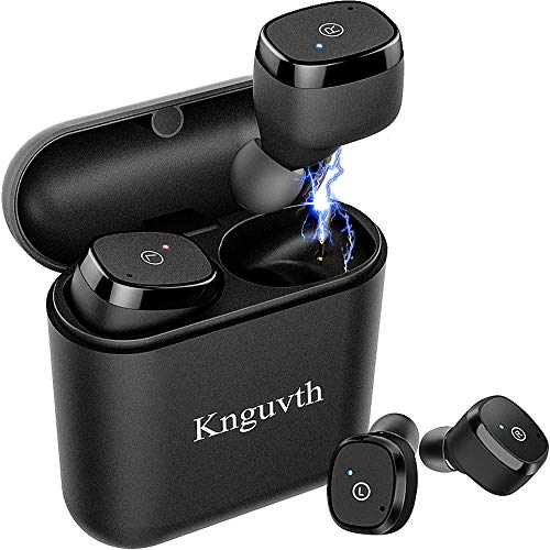 Wireless Earbuds, KNGUVTH Bluetooth Headphones 5.0 True Wireless Stereo Headset with Microphone HandsFree in Ear Sport Sweatproof Earphones with Charging Box/Case for iPhone Samsung Android