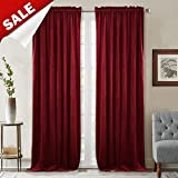 StangH Theater Red Velvet Curtains - Rustic Home Decor Heavy Duty Velvet Drapes with Dual Rod Pocket Sound Lower Light Dimming Panels for Media Room/Master Bedroom, W52 x L84-inch, Sold 2 Panels