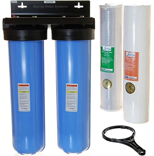 iSpring WGB22B 2-Stage 20-Inch Big Blue Whole House Water Filter 1-Inch NPT Carbon (Best Whole House Water Filter For Well Water)