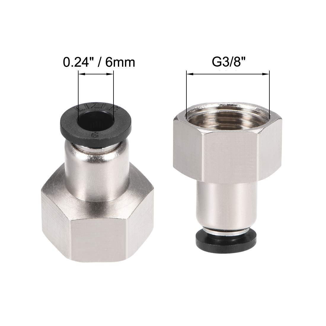 uxcell Push to Connect Tube Fitting Adapter 6mm Tube OD x G3//8 Female Straight Pneumatic Connecter Connect Pipe Fitting Silver Tone 2pcs