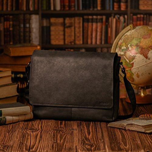 Bolso LEABAGS Vintage en Bandolera Oxford Cuero auténtico Fox de Estilo búfalo el Negro aTSOHxTqw