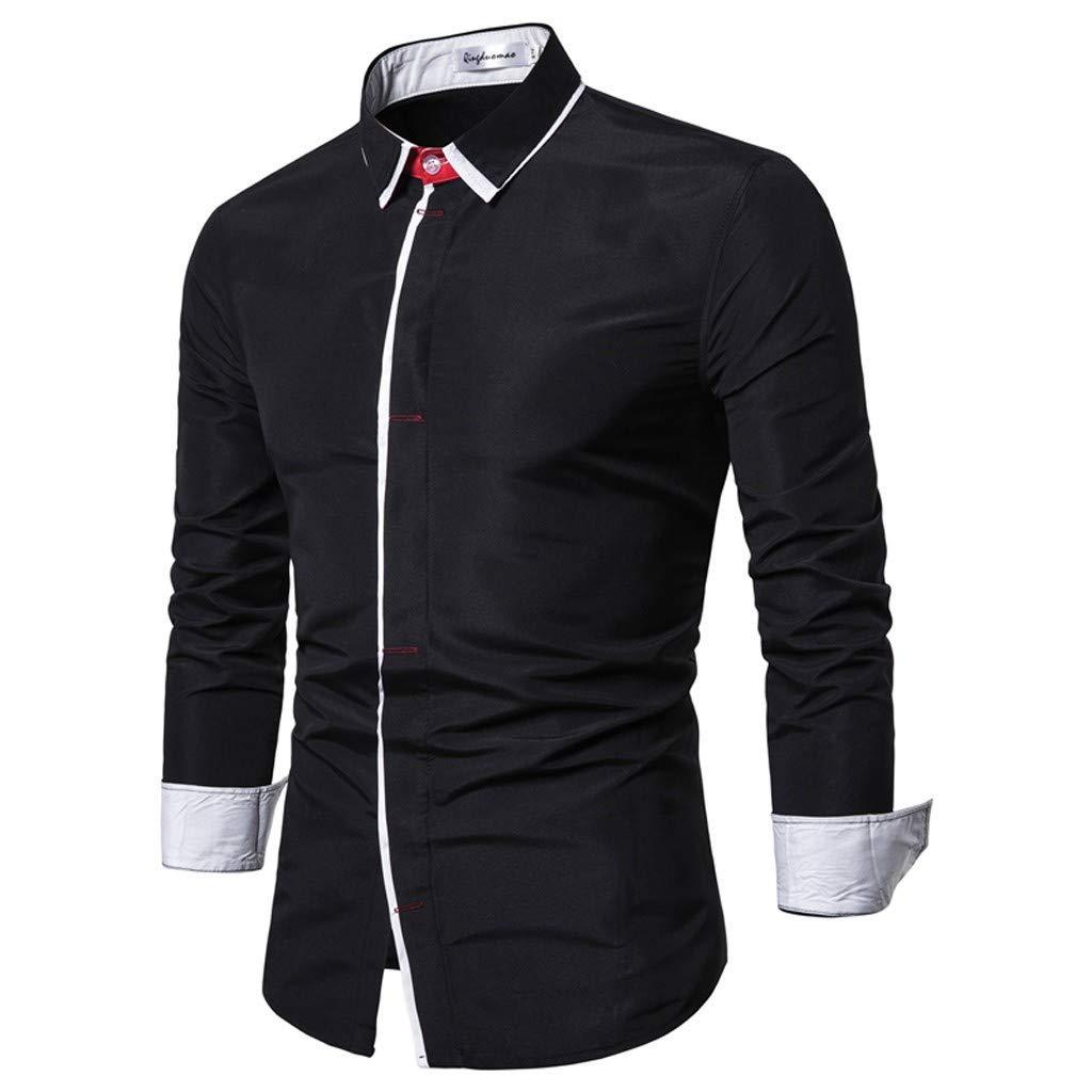Stoota Men Striped Splicing Blouse,Button Long Sleeve Shirt,Fashion Tuxedo Top