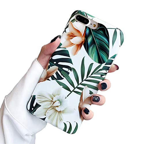 - iPhone 7 Plus Case iPhone 8 Plus case,Yoopake 8 Plus Cases for Girls Women Thin Slim TPU Soft Case with Green Leaves Floral Unique Art Pattern Protective Cover Phone case for Apple iPhone 8 Plus 5.5