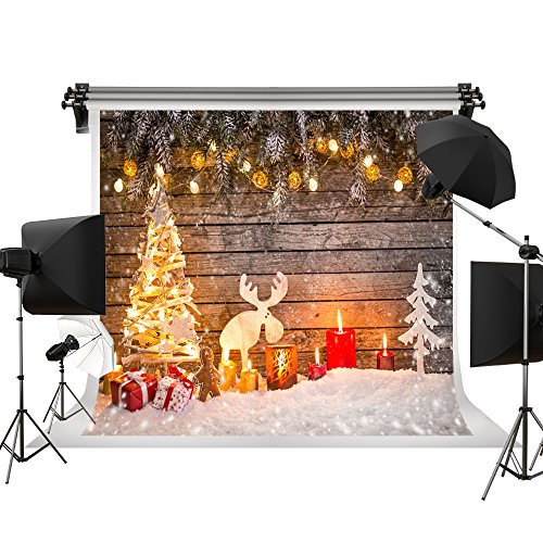 Kate Holiday Christmas Backdrops Winter Snow Photography Back Drop Christmas Deer Bokeh Stars Backgrounds for Children Photo Professional Photography Studio 7x5ft (Photo Shoot Studio Christmas)
