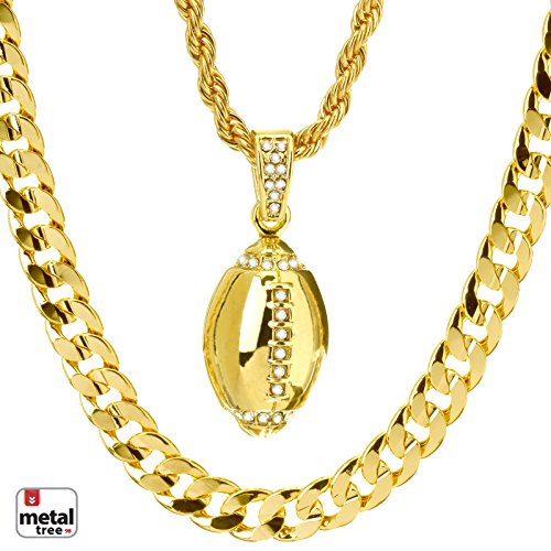 Men's Iced Out 14kt Gold Plated Football Pendant 22