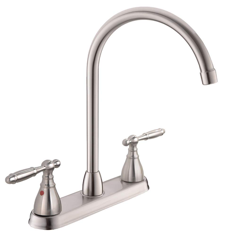 POPILION Commercial Modern Brushed Nickel Kitchen Faucet,Double Metal Handle Sink Faucet With 360 High Arc Swivel Spout,Stainless Steel Kitchen Sink Faucet