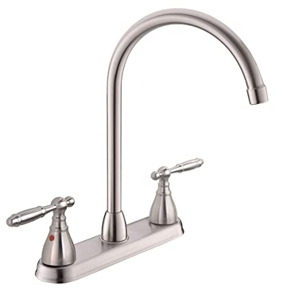 POPILION Commercial Modern Brushed Nickel Kitchen Faucet,Double Metal  Handle Sink Faucet With 360 High Arc Swivel Spout,Stainless Steel Kitchen  Sink ...