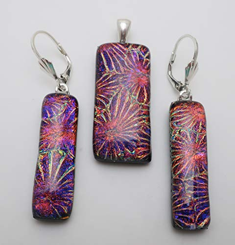 3 pc red violet purple flower fused dichroic glass pendant earrings set Sterling silver leverbacks