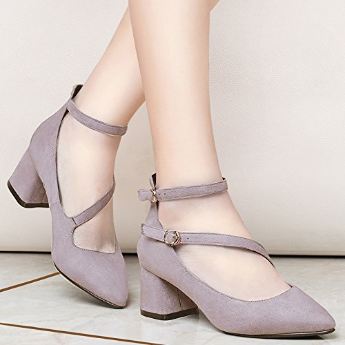 KPHY Joker Frühling Medium Ferse Damenschuhe. Ferse Sagte Grob Schuhe Damenschuhe. Ferse Violet 4d86e5