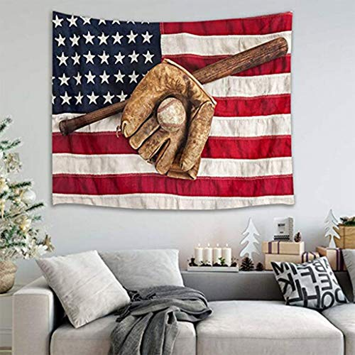 Independence Day Decoration,Sport Tapestry Baseball Glove And Bat Wall Hanging American Flag Wall Tapestry Home Decoration Party Wall Decor (A)