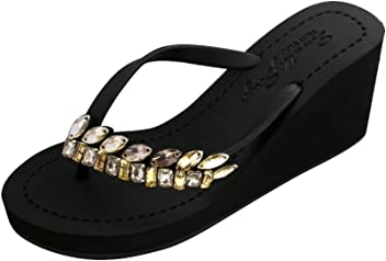 24abbdd9a7d53 Sand by Saya Smith Comfortable Rubber Sandals with Thong Stripe and  Embellishment – High Heels