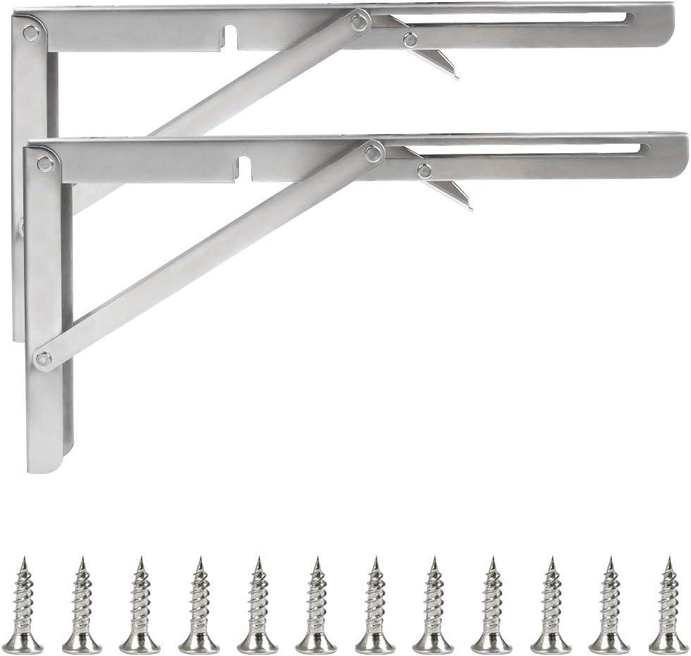 THETHO 2 PCS Soportes para Estantes Plegable de 400mm Soporte Plegable para Pared de Acero Inoxidable Escuadras Abatibles para Ahorrar Espacio, Carga Máxima de Peso 200 kg