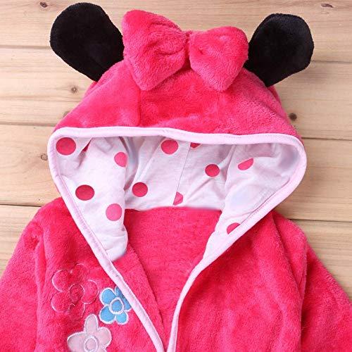 Morbido Pile Vestaglia Pigiama con Cappuccio da Camera Bambina Personaggi Rosa Lovelegis Minnie Mouse Accappatoio Notte