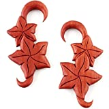 Pair Carved Organic Tribal Floral Sawo Wood Ear Spiral Flower Hook Plugs Gauges