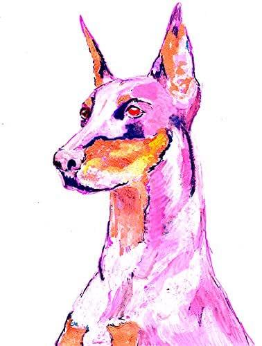 Doberman print kid art 5x7 dog print Dog animal print Doberman Pinscher art print Animals in clothes
