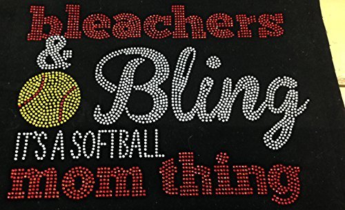 (Softball Rhinestone Heart Iron on Hot Fix Motif Applique Heat Press Patch Sports Mom Ball Bleachers and Bling)