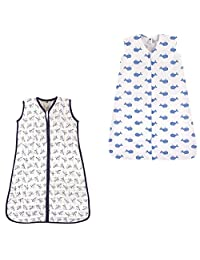 Hudson Baby Safe Sleep Wearable Sleeping Bag Muslin & Jersey Cotton, 2 Pack