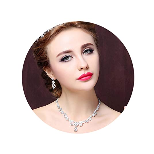 D/ÉCOCO Set of 3 Wedding Crown for Bride Rhinestone Sliver Headband Tiara with Earrings and Necklace