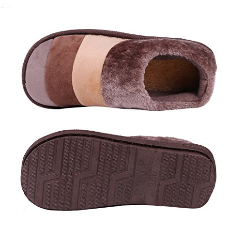 Foam Fleece Mens Warm Winter Memory Womens Anti Shoes Soft House Outdoor Coffee Lined Indoor Slip Slippers Slippers Striped Smiry OSw8YqY