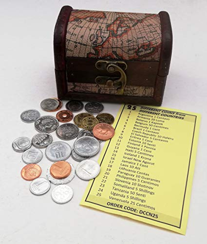World Coins - Coins Collection - 25 Pieces of 25 Different World Countries + Wooden Treasure Chest