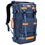 Cheap WITZMAN Canvas Backpack Vintage Travel Backpack Hiking Luggage Rucksack Laptop Bags A519 (21 inch Blue)