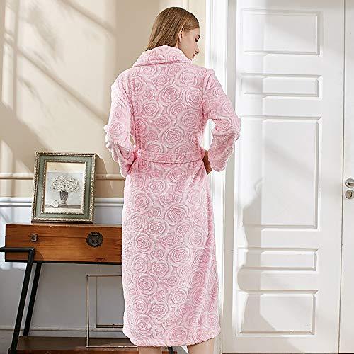 Las Ropa Xxl Trajes Solapa Ocio Mujeres Cinturones Pijamas Cálido Cardigan Bolsillos Grueso Franela Dormir De Y Albornoz Toalla Hogar Baño Traje Lujo tamaño rFFtq