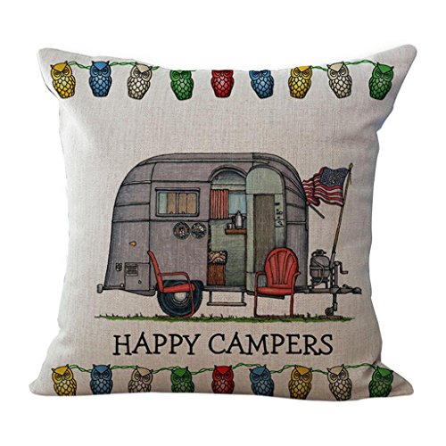 Saingace Pillow Case Home Decor 18 x18 inch Happy Campers Pillow Cover Sofa Bed Waist Throw Cushion Cover (C)