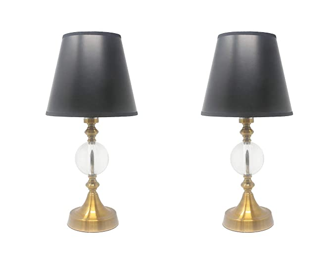 Urbanest Set Of 2 Ellery Touch Accent Lamps 17 Inch Tall Antique Gold With Black Parchment Shades With Gold Liner