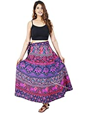 Indian Cotton WRAP Around Skirts for Women Girls WEAR Boho Hippie Magic Skirt