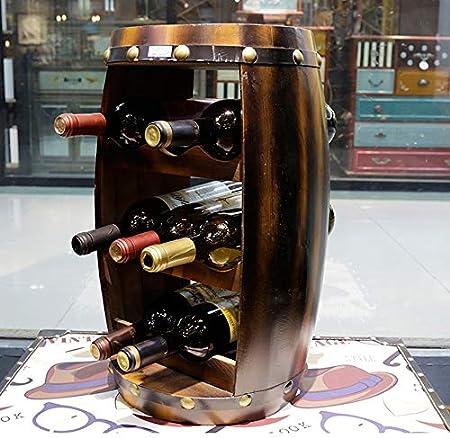 Wine Bottle Rack LDFZ Estante De Almacenamiento De Vino De Encimera, Botellero De Vino De Barril De Madera De 8 Botellas, Estante De Vino De Exhibición Retro Nórdico, Mesa De Exhibición Independiente