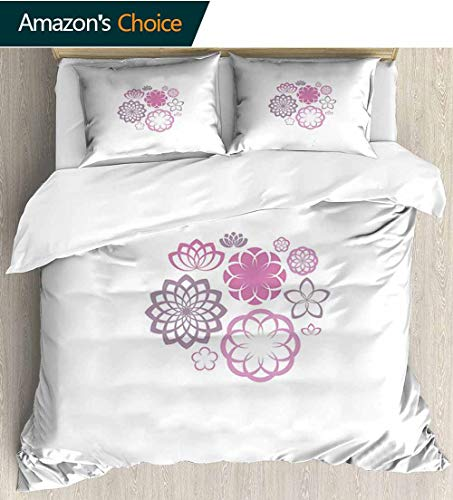 Dahlia Full Queen Duvet Cover Sets,Hypotrochoid Style Flower Collection of Chrysanthemum Dahlias and Lilies 100% Cotton Reversible 3 Pieces Kids Girls Boys Bedding Sets 80