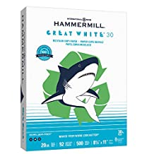 Hammermill Printer Paper, Great White 30% Recycled Copy Paper, 20lb, 8.5 x 11, Letter,  92 Bright - 1 Pack / 500 Sheets (086710R)