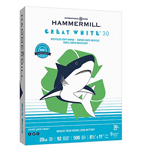 Hammermill Paper, Great White 30% Recycled Copy Paper Poly Wrap, 20lb,  8.5 x 11, Letter, 92 Bright, 500 Sheets / 1 Ream (086710) Made In The (Hammermill Recycled Paper)