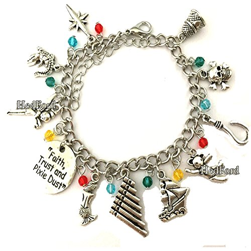 Peter Pan Themed Charm Silver Bracelet