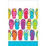 Amscan Sun-Sational Summer Luau Party Colorful Flip Flops Table Cover (3 Piece), 54'' X 84'', Multicolor