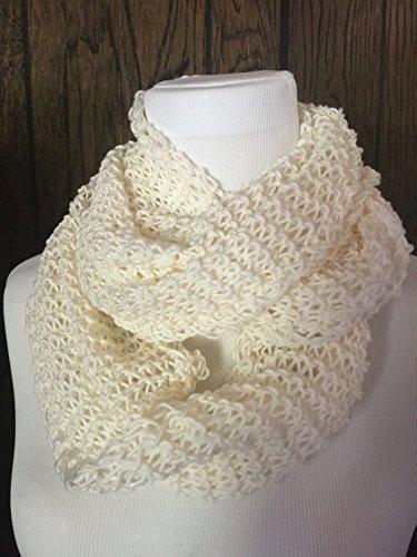 Amazon Hand Knit Merino Wool Lightweight Infinity Scarf Cream
