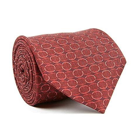 Davidoff Mens Luxury 100% Silk Red Icon Circle Patterned Slim Necktie - 21211 - Circle Print Tie