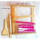 20x20 Inch Weaving Loom with Tapestry Beater,shuttles and Shed Stick. Free Needle Included