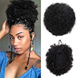 ForQueens Synthetic Curly Hair Ponytail African American Short Afro Kinky Curly Wrap Drawstring Puff Ponytail Hair Extensions Wig with 2 Clips(#1B)